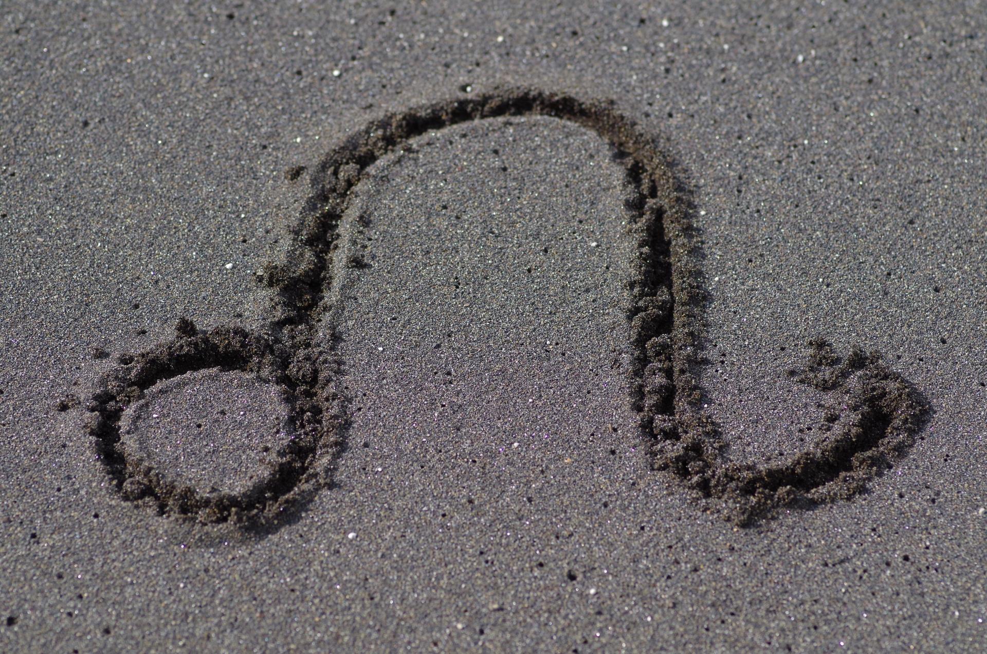 砂浜に書いたしし座のサイン